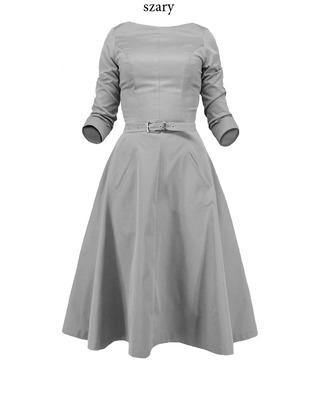 Rozkloszowana sukienka z rękawem CAMILL 164 1