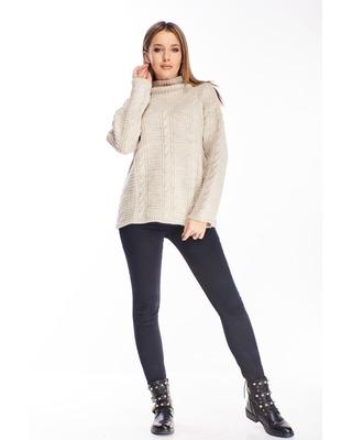 sweter ze stójką beżowy