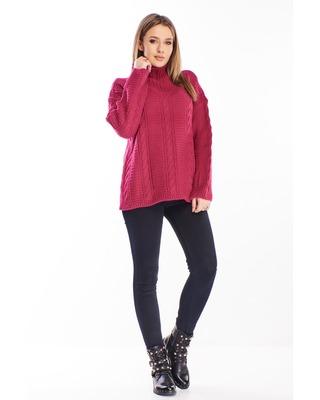 sweter ze stójką różowy
