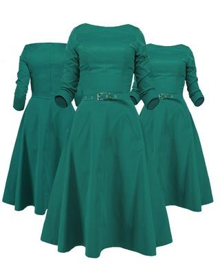 Rozkloszowana sukienka z rękawem CAMILL 164 10