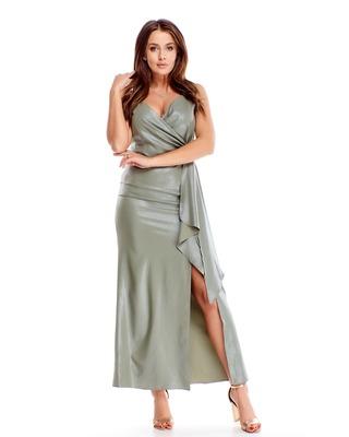 Długa oliwkowa suknia...