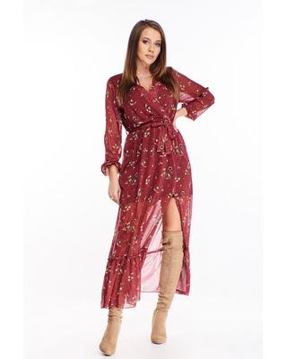 wzorzysta sukienka maxi o...