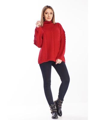 sweter ze stójką bordowy