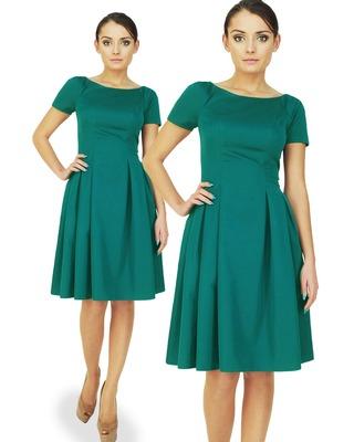 Klasyczna sukienka w kontrafałdy z rękawkiem CAMILL 182