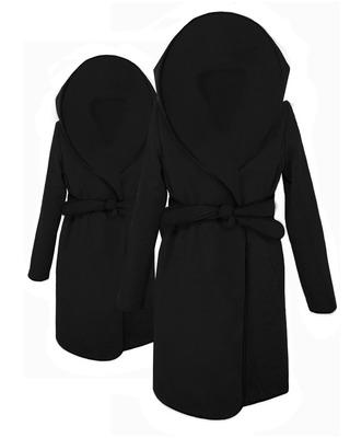 Flauszowy płaszcz z kapturem CAMILL 005J