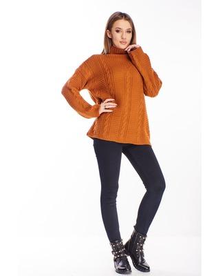 sweter ze stójką pomarańczowy