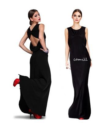 Camill 121 czarna dluga suknia wieczorowa