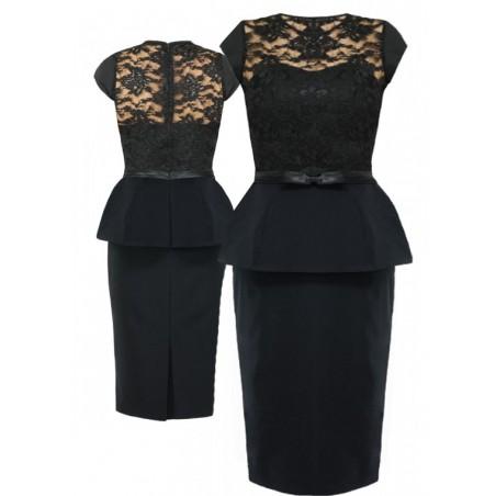 Koronkowa sukienka z baskinką CAMILL 162 1