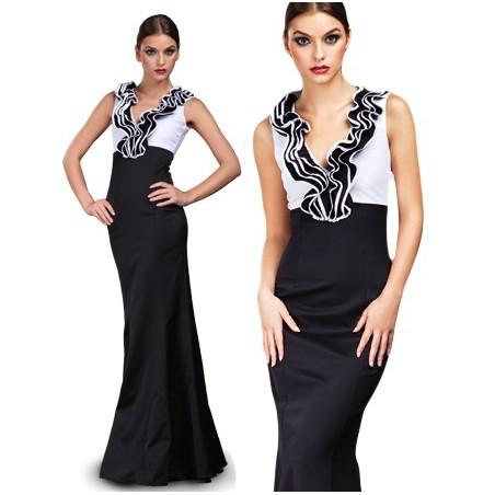 Długa, elegancka sukienka z żabotem CAMILL 117 1
