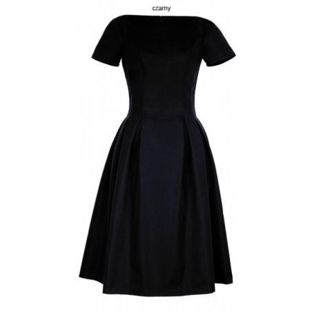Klasyczna sukienka w kontrafałdy z rękawkiem CAMILL 182 4