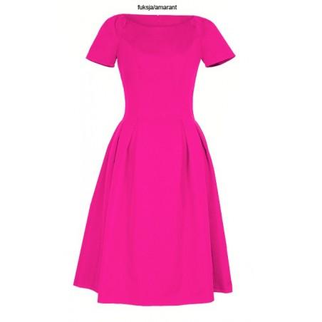 Klasyczna sukienka w kontrafałdy z rękawkiem CAMILL 182 6