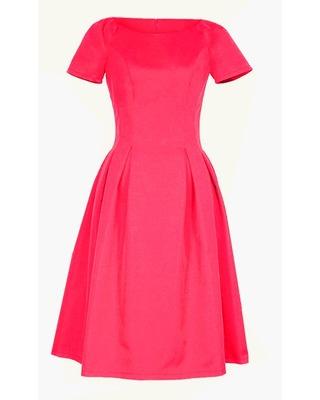 Klasyczna sukienka w kontrafałdy z rękawkiem CAMILL 182 7