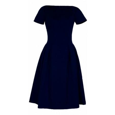 Klasyczna sukienka w kontrafałdy z rękawkiem CAMILL 182 8