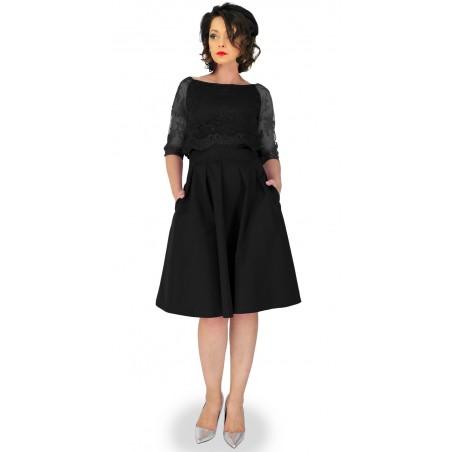 Rozkloszowana sukienka  z koronkową bluzką 3/4 na wesele,sylwester CAMILL 319