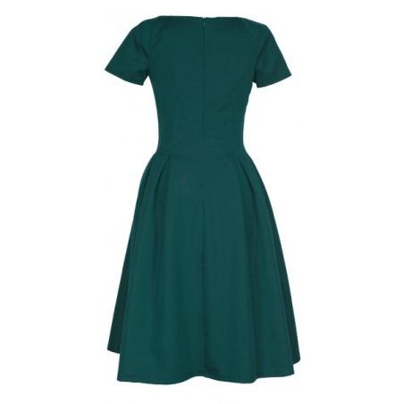 Klasyczna sukienka w kontrafałdy z rękawkiem CAMILL 182 11