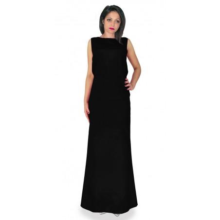 Wieczorowa długa  sukienka typu syrenka  z koronkowym odsłaniającym plecy dekoltem CAMILL 320