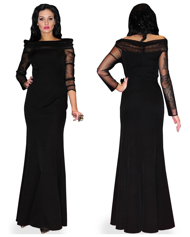 Camill 348 Długa wieczorowa sukienka z siateczkowym rękawem i dekoltem w łudkę