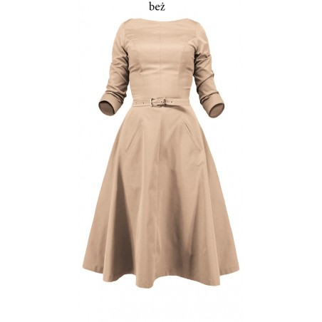 Rozkloszowana sukienka z rękawem CAMILL 164 2