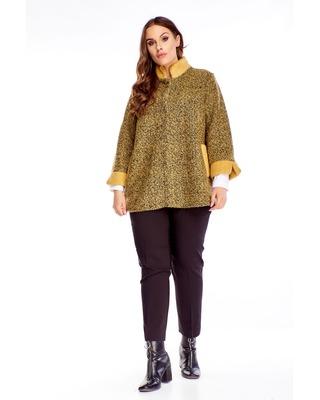 sweter z domieszką wełny żółty