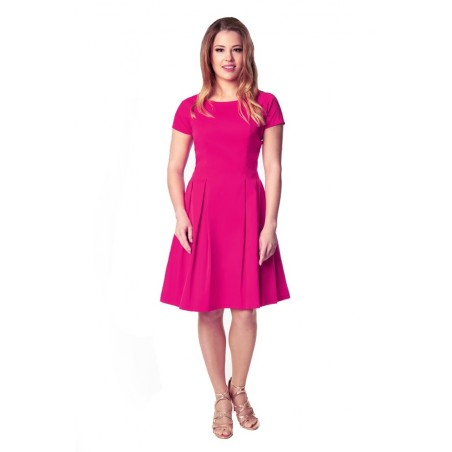 Klasyczna sukienka w kontrafałdy z rękawkiem CAMILL 182 1
