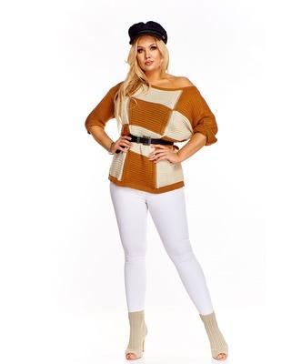 Sweter w kwadraty  brązowy