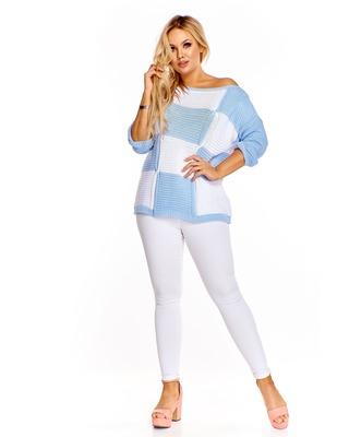 Sweter w kwadraty  niebieski