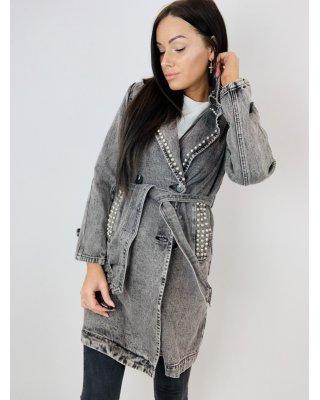 dżinsowy płaszcz z ćwiekami...