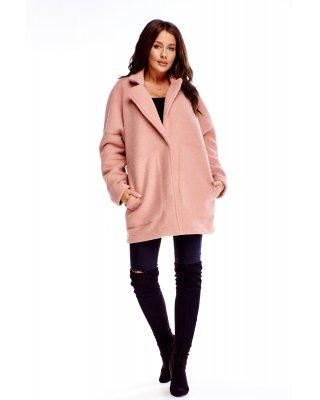 wełniany płaszcz różowy