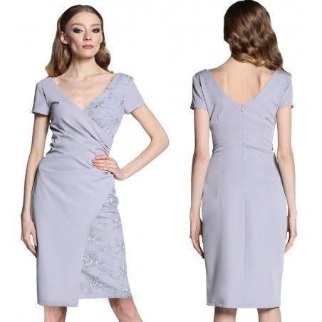 Kopertowa popielata koronkowa sukienka 50 CAMILL 296