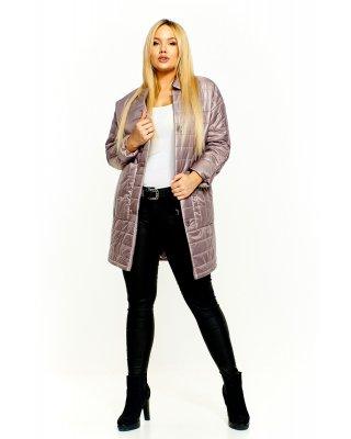 Pikowany płaszcz beżowy