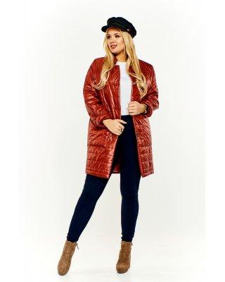 Pikowany płaszcz brązowy