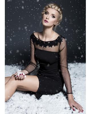 Nowoczesna mała czarna ołówkowa sukienka Camill 278 3