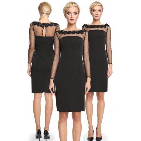 Nowoczesna mała czarna ołówkowa sukienka Camill 278