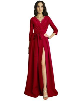 Czerwona suknia koronkowa z...