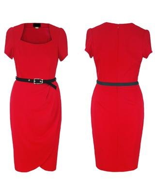 Czerwona sukienka z krótkim rękawem ,tulipan 48
