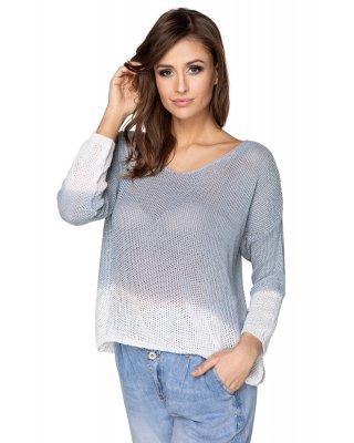 sweter z efektem ombre szary