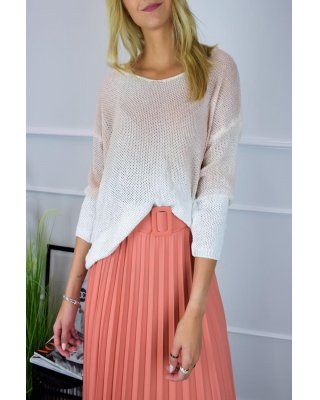 sweter z efektem ombre beżowy