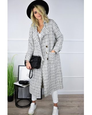 klasyczny tweedowy płaszcz...