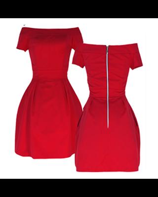 Czerwona sukienka bombka z...