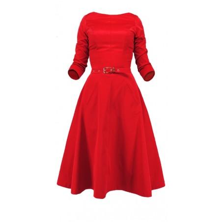 Rozkloszowana sukienka z rękawem CAMILL 164 3