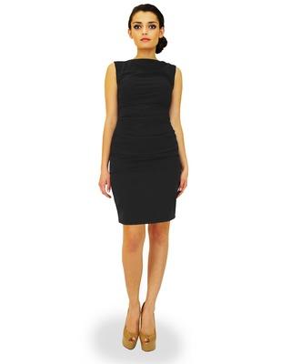 Wyszczuplająca sukienka z marszczeniami czarna r.38 Camill 147 Mini