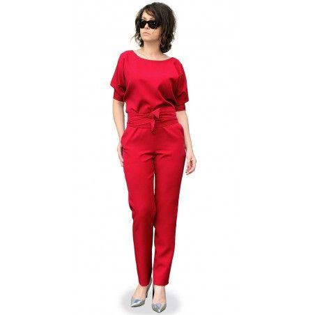 Camill 318 elegancki kombinezon -spodnium rękaw kimono ,zwężana nogawka