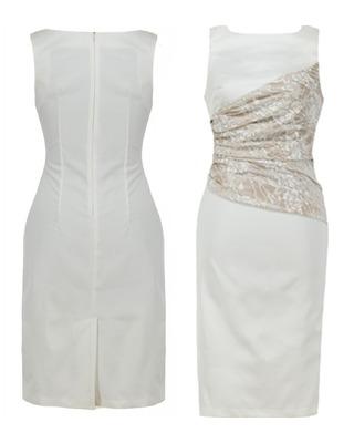 Jasna wąska sukienka z koronką CAMILL 161 1