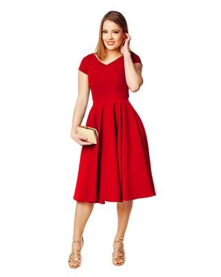 Sukienka z koła z rękawkiem oraz dekoltem w serek czerwona r