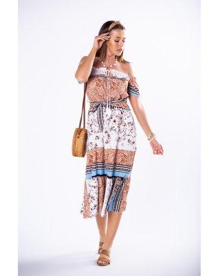 sukienka midi z hiszpańskim...