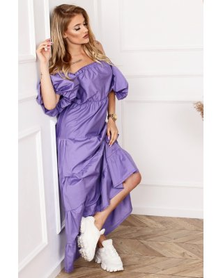 trapezowa sukienka maxi z...