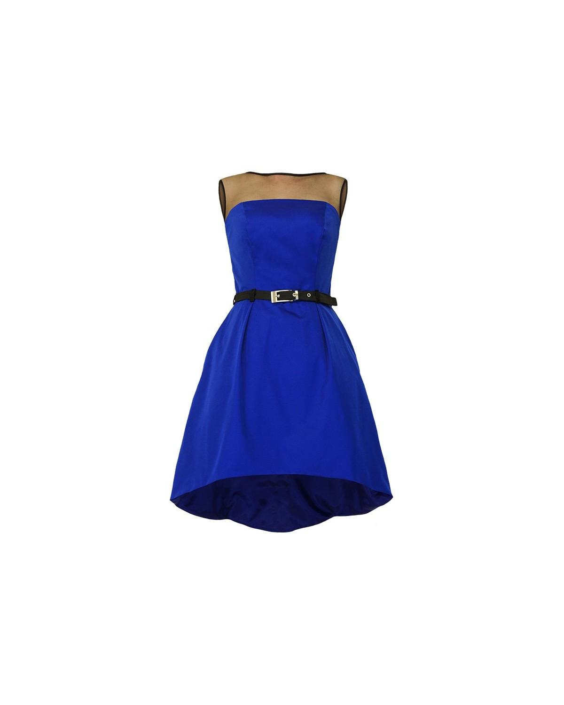 Asymetryczna gorsetowa sukienka szafir r.38 CAMILL 222