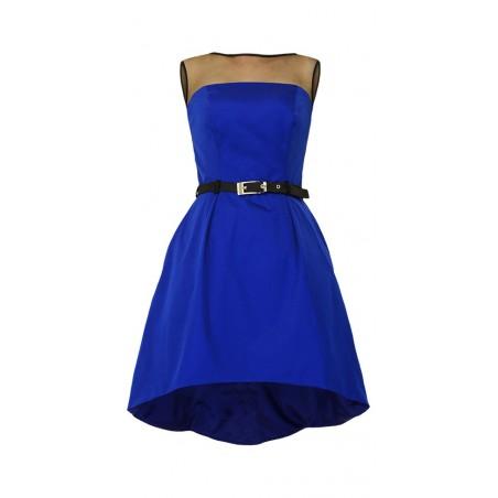 Szafirowa asymetryczna gorsetowa sukienka CAMILL222