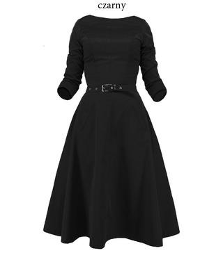 Rozkloszowana sukienka z rękawem CAMILL 164 4