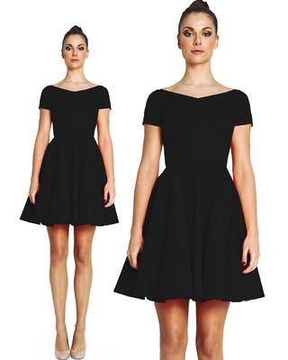 Sukienka z koła z dekoltem w serek szafir 36 Camill 265a